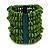 Wide Wooden Bead Flex Bracelet In Green - 19cm L - Adjustable