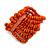 Wide Wooden Bead Flex Bracelet In Orange - 19cm L - Adjustable - view 3