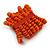 Wide Wooden Bead Flex Bracelet In Orange - 19cm L - Adjustable - view 4