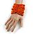 Wide Wooden Bead Flex Bracelet In Orange - 19cm L - Adjustable - view 2