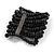 Wide Wooden Bead Flex Bracelet In Black - 19cm L - Adjustable - view 3