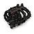 Wide Wooden Bead Flex Bracelet In Black - 19cm L - Adjustable - view 4