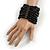 Wide Wooden Bead Flex Bracelet In Black - 19cm L - Adjustable - view 2