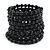 Wide Wood and Glass Bead Coil Flex Bracelet In Black - Adjustable