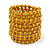 Wide Wood and Glass Bead Coil Flex Bracelet In Yellow - Adjustable