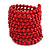 Wide Wood and Glass Bead Coil Flex Bracelet In Red - Adjustable