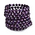Wide Wood and Glass Bead Coil Flex Bracelet In Purple - Adjustable