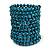 Wide Teal Wood and Light Blue Glass Bead Coil Flex Bracelet - Adjustable