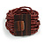 Chocolate Brown Glass Bead Multistrand Flex Bracelet With Wooden Closure - 19cm L - view 8
