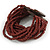 Chocolate Brown Glass Bead Multistrand Flex Bracelet With Wooden Closure - 19cm L - view 5