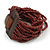 Chocolate Brown Glass Bead Multistrand Flex Bracelet With Wooden Closure - 19cm L - view 9