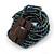 Peacock Glass Bead Multistrand Flex Bracelet With Wooden Closure - 19cm L - view 4