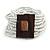 White Glass Bead Multistrand Flex Bracelet With Wooden Closure - 19cm L - view 9