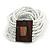 White Glass Bead Multistrand Flex Bracelet With Wooden Closure - 19cm L - view 7