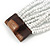 White Glass Bead Multistrand Flex Bracelet With Wooden Closure - 19cm L - view 8