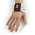 White Glass Bead Multistrand Flex Bracelet With Wooden Closure - 19cm L - view 3