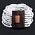 White Glass Bead Multistrand Flex Bracelet With Wooden Closure - 19cm L - view 4