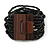 Black Glass Bead Multistrand Flex Bracelet With Wooden Closure - 19cm L - view 8