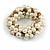 Solid Chunky Light Cream Glass Bead, Antique White Sea Shell Nuggets Flex Bracelet - 18cm L