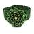 Statement Beaded Flower Stretch Bracelet In Apple Green - 18cm L - Adjustable