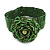 Statement Beaded Flower Stretch Bracelet In Apple Green - 18cm L - Adjustable - view 7