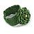 Statement Beaded Flower Stretch Bracelet In Apple Green - 18cm L - Adjustable - view 4