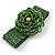 Statement Beaded Flower Stretch Bracelet In Apple Green - 18cm L - Adjustable - view 5