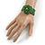 Statement Beaded Flower Stretch Bracelet In Apple Green - 18cm L - Adjustable - view 2