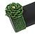 Statement Beaded Flower Stretch Bracelet In Apple Green - 18cm L - Adjustable - view 3
