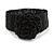 Statement Beaded Flower Stretch Bracelet In Black - 18cm L - Adjustable