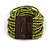Olive Green Glass Bead Multistrand Flex Bracelet With Wooden Closure - 19cm L - view 7