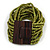 Olive Green Glass Bead Multistrand Flex Bracelet With Wooden Closure - 19cm L - view 2