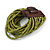 Olive Green Glass Bead Multistrand Flex Bracelet With Wooden Closure - 19cm L - view 8
