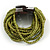 Olive Green Glass Bead Multistrand Flex Bracelet With Wooden Closure - 19cm L - view 6