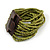 Olive Green Glass Bead Multistrand Flex Bracelet With Wooden Closure - 19cm L - view 9
