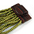 Olive Green Glass Bead Multistrand Flex Bracelet With Wooden Closure - 19cm L - view 5