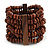 Wide Wooden Bead Flex Bracelet In Brown - 19cm L - Adjustable