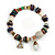 Trendy Glass and Shell Bead, Gold Tone Metal Rings Flex Bracelet (Mulicoloured) - 18cm L