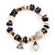 Trendy Glass and Shell Bead, Gold Tone Metal Rings Flex Bracelet (Mulicoloured) - 18cm L - view 7