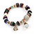 Trendy Glass and Shell Bead, Gold Tone Metal Rings Flex Bracelet (Mulicoloured) - 18cm L - view 6