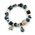 Trendy Glass and Shell Bead, Gold Tone Metal Rings Flex Bracelet (Blue, Grey, White, Gold) - 17cm L
