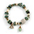 Trendy Glass and Shell Bead, Gold Tone Metal Rings Flex Bracelet (Green, White, Gold) - 17cm L - view 1