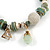 Trendy Glass and Shell Bead, Gold Tone Metal Rings Flex Bracelet (Green, White, Gold) - 17cm L - view 3