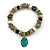 Trendy Ceramic and Semiprecious Bead, Gold/ Silver Tone Metal Rings Flex Bracelet (Olive, Green, Black, Natural) - 18cm L - view 2