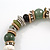Trendy Ceramic and Semiprecious Bead, Gold/ Silver Tone Metal Rings Flex Bracelet (Olive, Green, Black, Natural) - 18cm L - view 4