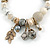 Trendy Ceramic, Glass and Semiprecious Bead, Gold/ Silver Tone Metal Rings, Charm Flex Bracelet (Grey, Cream) - 18cm L - view 3