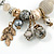 Trendy Ceramic, Glass and Semiprecious Bead, Gold/ Silver Tone Metal Rings, Charm Flex Bracelet (Grey, Cream) - 18cm L - view 4
