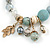 Trendy Ceramic, Glass and Semiprecious Bead, Gold/ Silver Tone Metal Rings, Charm Flex Bracelet (Light Blue, Grey, Cream) - 18cm L - view 3