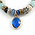 Trendy Ceramic and Semiprecious Bead, Gold/ Silver Tone Metal Rings Flex Bracelet (Blue, Mint, Natural) - 18cm L - view 3