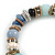 Trendy Ceramic and Semiprecious Bead, Gold/ Silver Tone Metal Rings Flex Bracelet (Blue, Mint, Natural) - 18cm L - view 5
